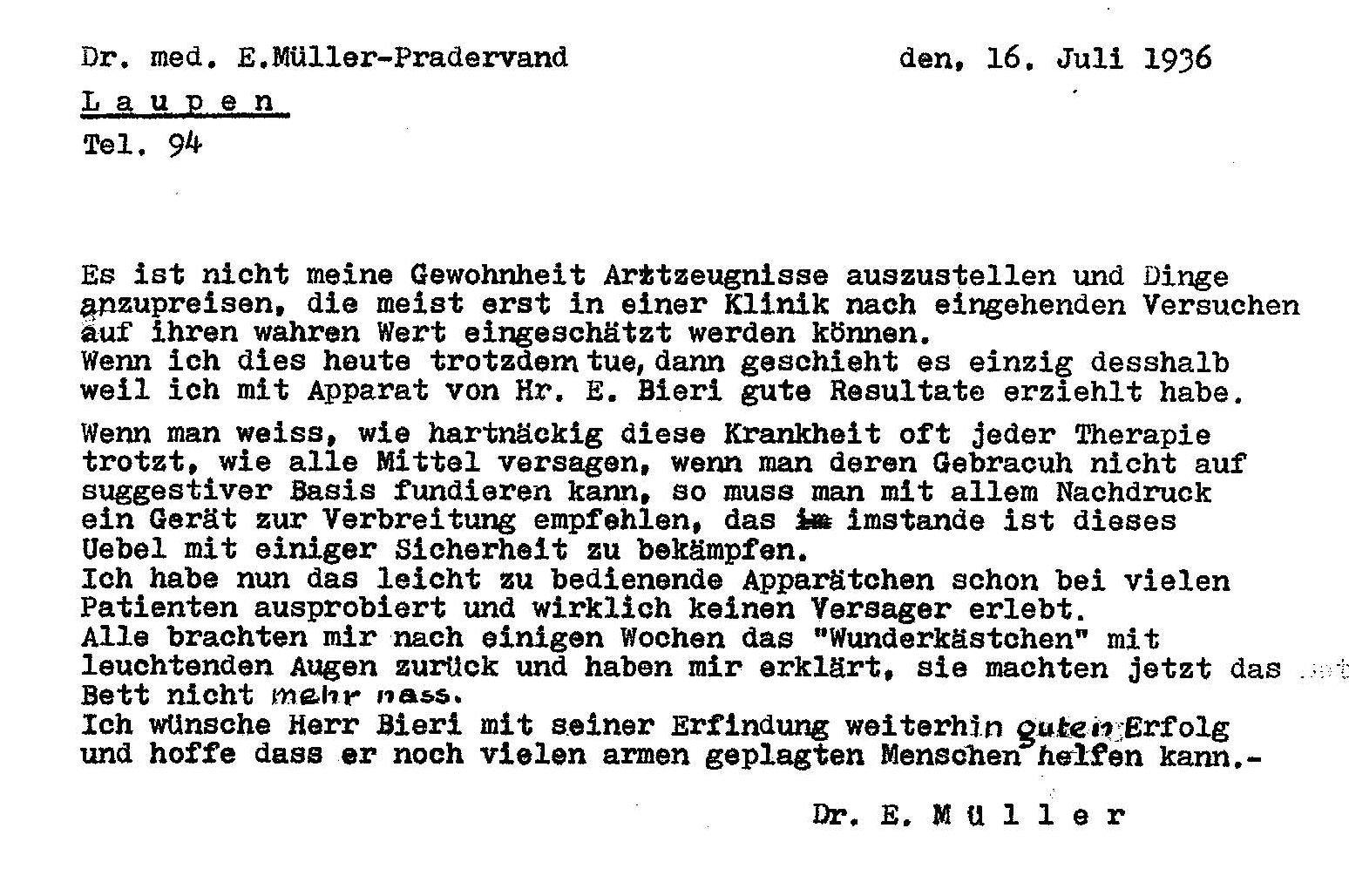 Dr-Mueller-Pradervand 16.7.1936